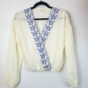 Chloe & Katie Boho Cropped Embroidered Top S